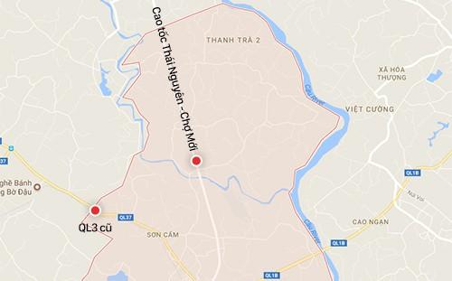 Vị trí hai trạm thu phí tại dự án Thái Nguyên - Chợ Mới.