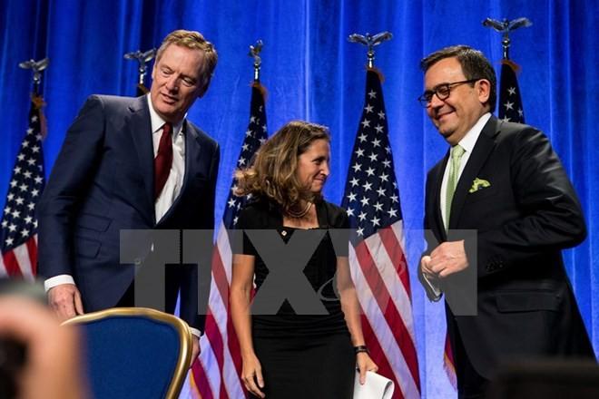Đại diện Mỹ, Canada và Mexico tại vòng thứ nhất tái đàm phán NAFTA ở Washington D.C., (Mỹ) ngày 16/8/2017. (Nguồn: THX/TTXVN)