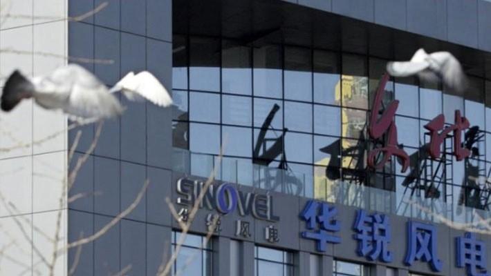 Logo của Sinovel bên ngoài trụ sở công ty này ở Bắc Kinh, Trung Quốc - Ảnh: Reuters.