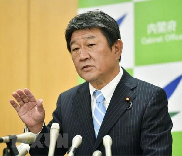 Bộ trưởng Tái thiết kinh tế Nhật Bản Toshimitsu Motegi. (Nguồn: Kyod0/TTXVN)