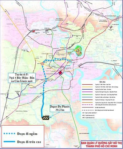 Sơ đồ tuyến metro số 5 của TP HCM.