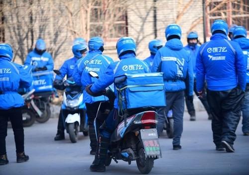 Đội giao hàng của Ele.me tại Thẩm Dương (Trung Quốc). Ảnh:Bloomberg