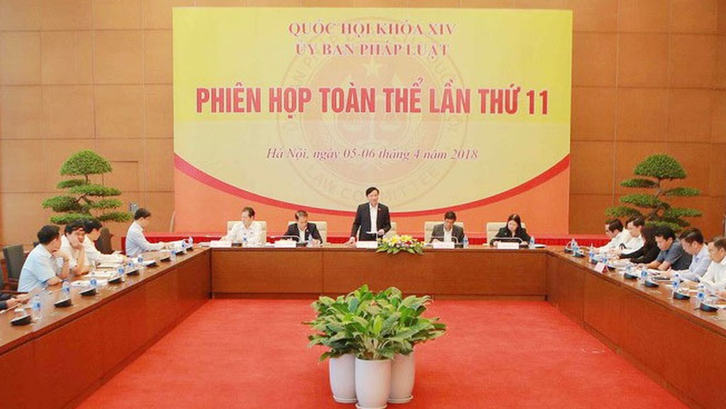 Toàn cảnh phiên họp toàn thể lần thứ 11 Ủy ban Pháp luật của Quốc hội. Ảnh: Dương Giang