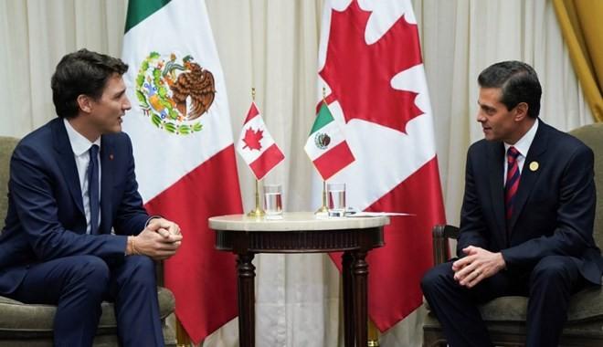 Tổng thống Mexico Enrique Peña Nieto gặp Thủ tướng Canada Justin Trudeau. (Nguồn: Twitter, @JustinTrudeau)