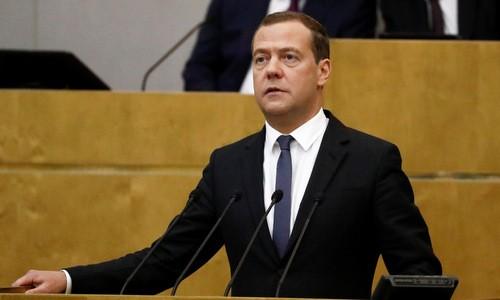 Thủ tướng Nga Dmitry Medvedev phát biểu trước hạ viện hôm 8/5. Ảnh:Reuters.