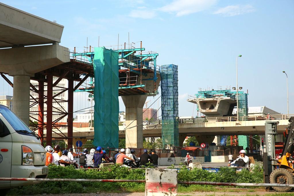 Dự án Tuyến đường sắt đô thị thí điểm thành phố Hà Nội, đoạn Nhổn - ga Hà Nội do Ban Quản lý đường sắt đô thị Hà Nội làm chủ đầu tư. Ảnh: Lê Tiên