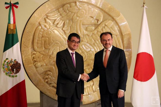 Ngoại trưởng Nhật Bản Taro Kono (trái) và Ngoại trưởng Mexico Luis Videgaray. (Nguồn: Reuters)