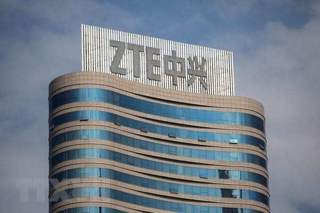 Logo của Hãng ZTE tại trụ sở công ty ở Thâm Quyến, tỉnh Quảng Đông, Trung Quốc ngày 14/5. (Nguồn: EPA-EFE/TTXVN)