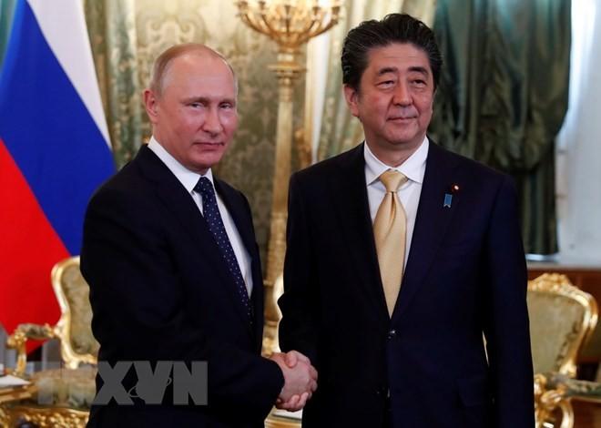 Tổng thống Nga Vladimir Putin (trái) và Thủ tướng Nhật Bản Shinzo Abe tại cuộc gặp ở Moskva, Nga ngày 26/5. (Nguồn: AFP/TTXVN)