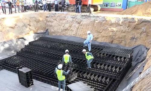 Công ty Thoát nước đề xuất được thí điểm xây dựng hồ điều hòa ngầm chống ngập giống TP HCM đã thử nghiệm năm 2017. Ảnh:Đức Huy