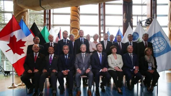 Các đại biểu tham dự hội nghị bộ trưởng tài chính và thống đốc ngân hàng trung ương G7 tại Canada ngày 1/6 - Ảnh: Reuters.