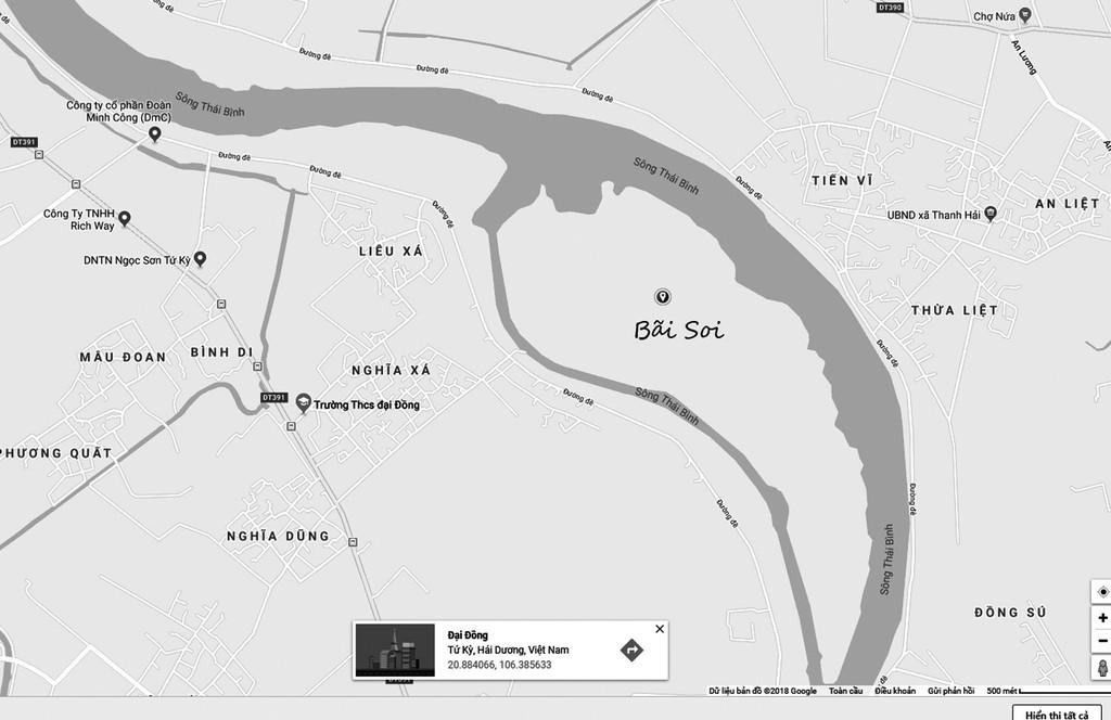 Bãi Soi có tổng diện tích 189,6 ha, nằm giữa dòng sông Thái Bình. Ảnh: NC st
