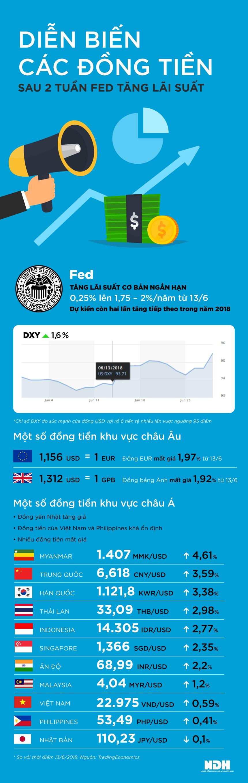 Các đồng tiền biến động ra sao sau 2 tuần Fed tăng lãi suất - ảnh 1