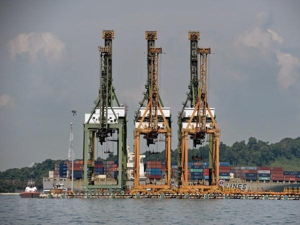 Cảng hàng hóa Tanjong Pagar ở Singapore ngày 9/5. (Nguồn: AFP/TTXVN)