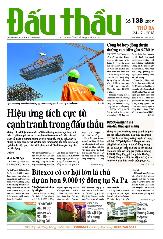 Báo Đấu thầu số 138 ra ngày 24/7/2018