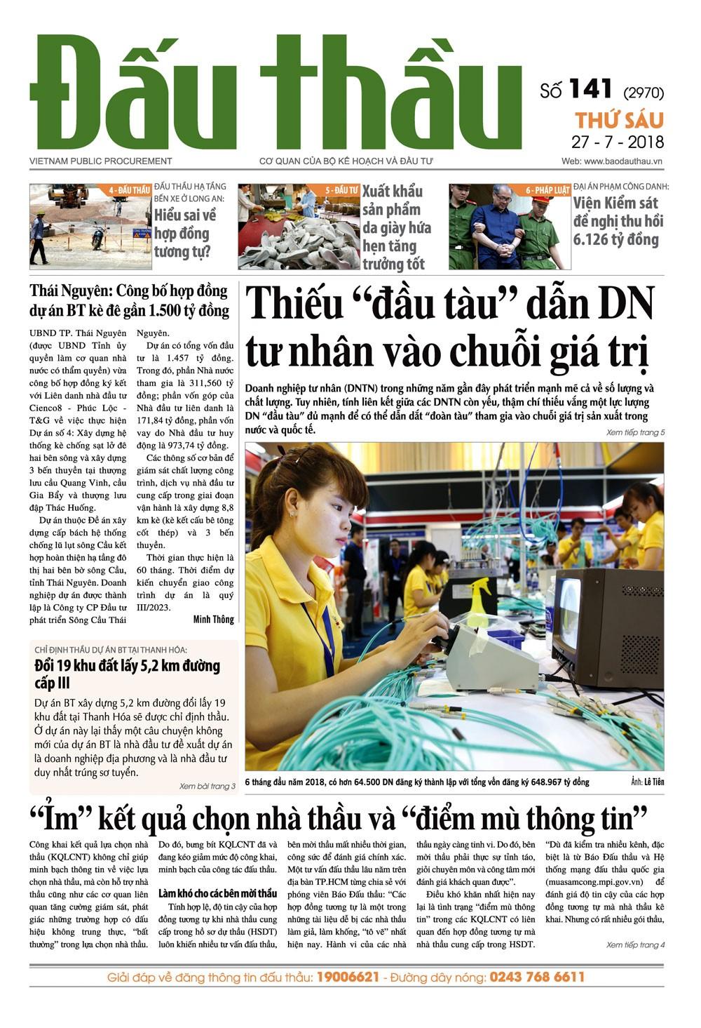 Báo Đấu thầu số 141 ra ngày 27/7/2018