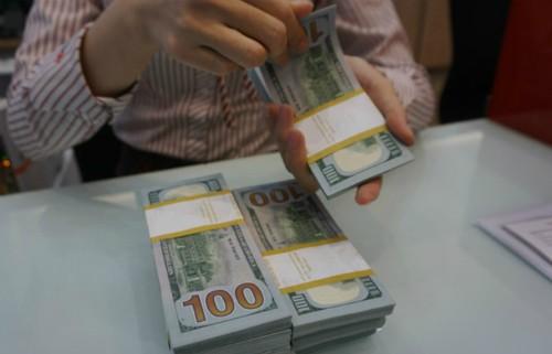 Giao dịch ngoại tệ tại một ngân hàng thương mại TP HCM. Ảnh:Anh Tú.