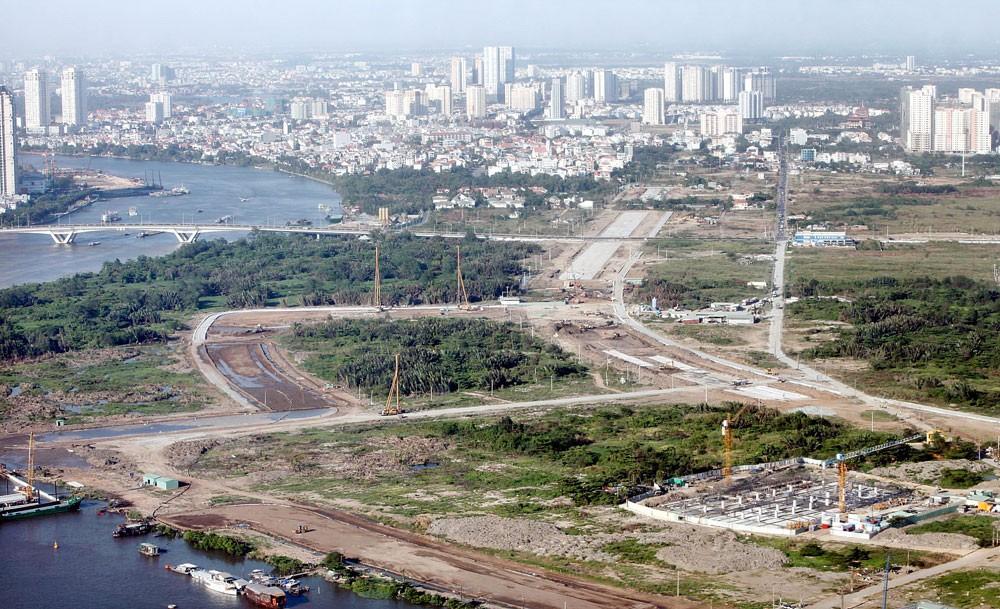 Cầu Thủ Thiêm 4 nối từ Khu đô thị mới Thủ Thiêm (Quận 2) sang đại lộ Nguyễn Văn Linh (Quận 7, TP.HCM) với tổng chiều dài khoảng 2.160 m. Ảnh: Hoàng Hải