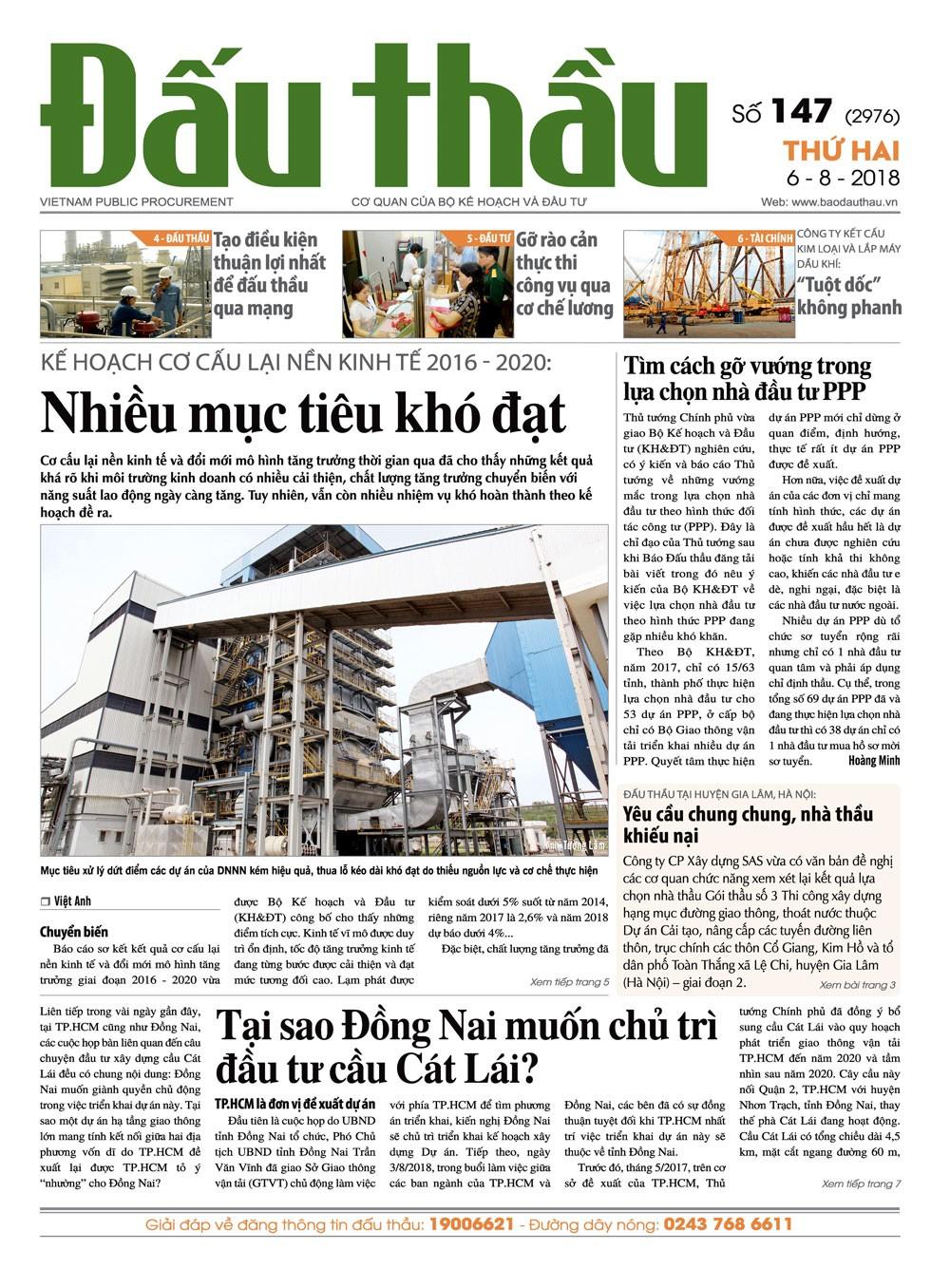 Báo Đấu thầu số 147 ra ngày 6/8/2018
