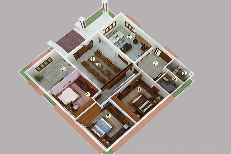 Top mẫu thiết kế nhà cấp 4 có 3 phòng ngủ đẹp, chất đáng sở hữu - ảnh 8