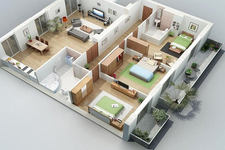 Top mẫu thiết kế nhà cấp 4 có 3 phòng ngủ đẹp, chất đáng sở hữu - ảnh 10