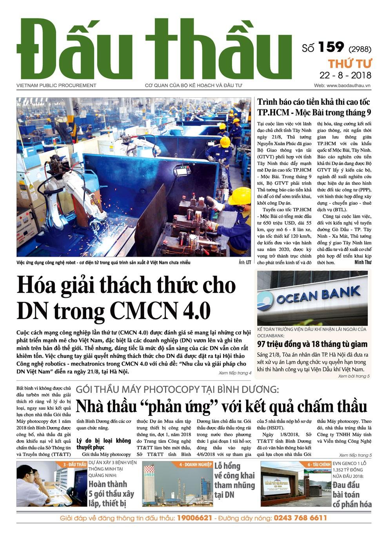 Báo Đấu thầu số 159 ra ngày 22/8/2018