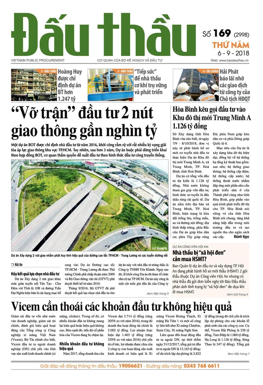 Báo Đấu thầu số 169 ra ngày 6/9/2018