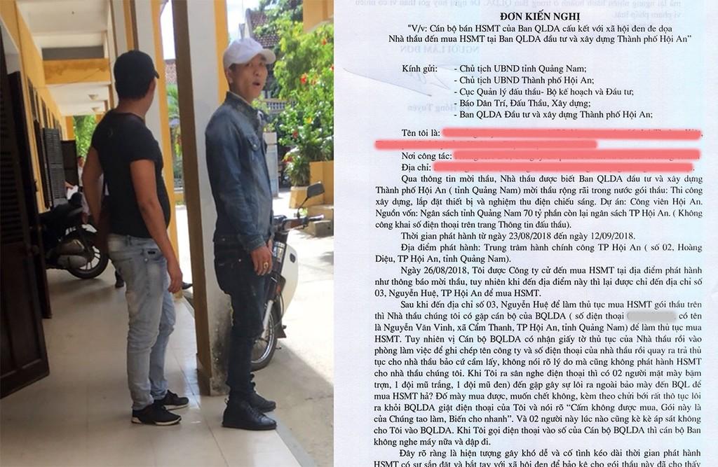 """Nhà thầu """"tố"""" bị 2 thanh niên: 1 đội mũ trắng, 1 đội mũ đen đe dọa khi đi mua HSMT"""