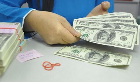 Giao dịch USD tại một ngân hàng thương mại ở HCM. Ảnh:Lệ Chi.