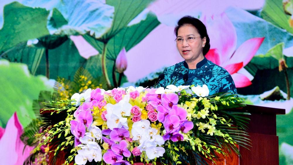 Chủ tịch Quốc hội Nguyễn Thị Kim Ngân phát biểu chào mừng Đại hội Tổ chức các cơ quan kiểm toán tối cao châu Á lần thứ 14. Ảnh: Quang Khánh