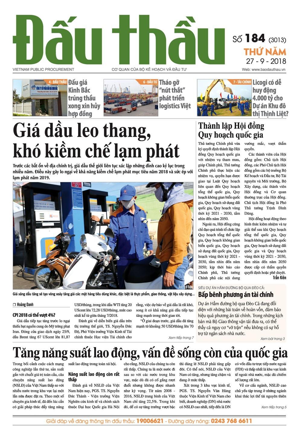 Báo Đấu thầu số 184 ra ngày 27/9/2018
