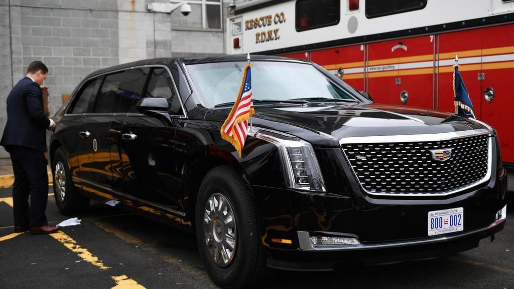 """Hình ảnh chiếc """"Quái thú"""" mới của Tổng thống Donald Trump được chụp ngày 23/9 tại New York - Ảnh: AP."""