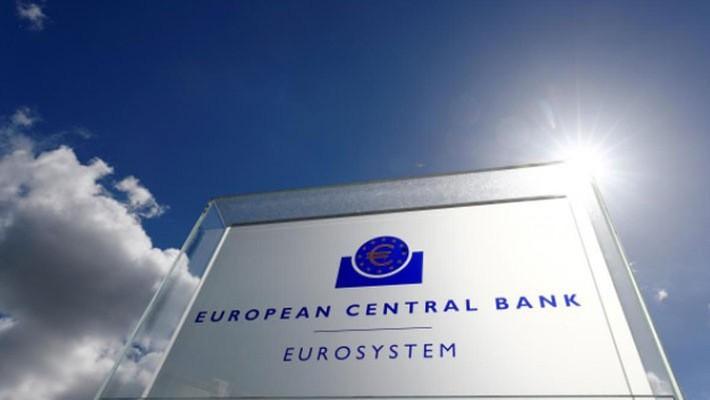Logo của Ngân hàng Trung ương châu Âu (ECB) tại Frankfurt, Đức - Ảnh: Reuters.