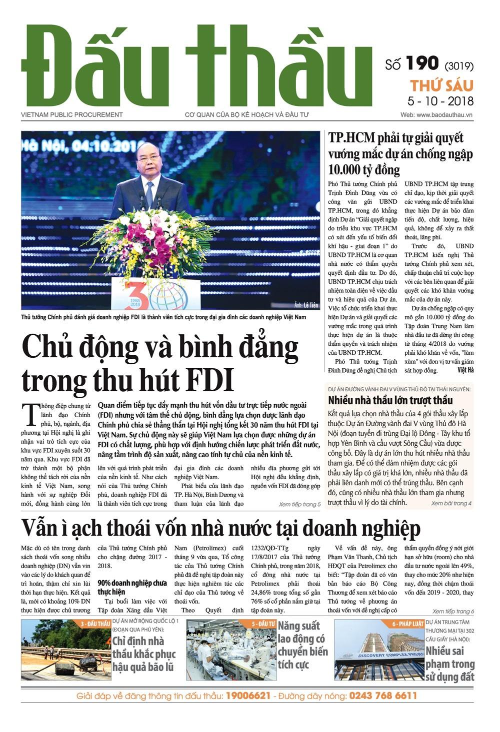 Báo Đấu thầu số 190 ra ngày 5/10/2018