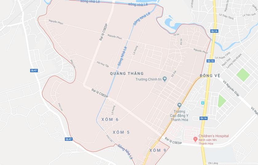 Dự án Khu dân cư phía Tây đường Hải Thượng Lãn Ông, phường Quảng Thắng, TP. Thanh Hóa có tổng diện tích 199.025,3 m2