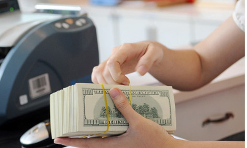 Giao dịch ngoại tệ tại một ngân hàng cổ phần. Ảnh:PV.