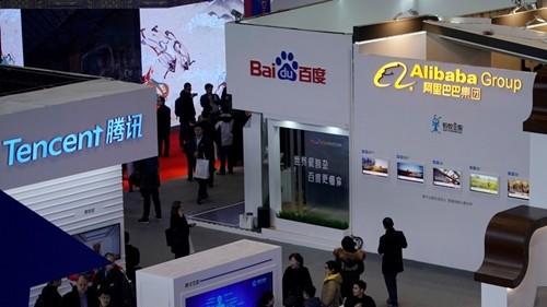 Gian hàng của các công ty công nghệ Trung Quốc tại một sự kiện. Ảnh:SCMP