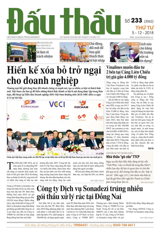 Báo Đấu thầu số 233 ra ngày 5/12/2018