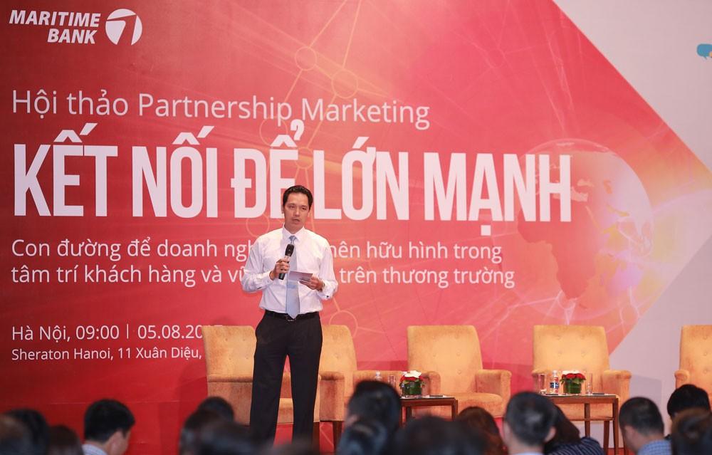 Ông Huỳnh Bửu Quang, Tổng giám đốc Maritime Bank phát biểu tại Hội thảo ra mắt chương trình Partnership Marketing