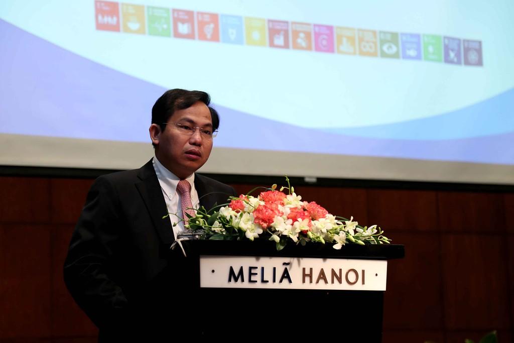 Thứ trưởng Bộ KH&ĐT Lê Quang Mạnh phát biểu tại Lễ công bố Bộ chỉ tiêu thống kê phát triển bền vững. Ảnh: Lê Trang
