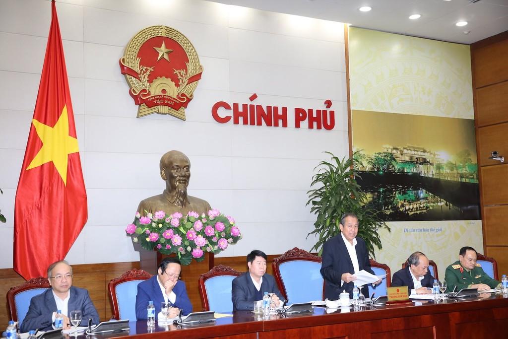 Phó Thủ tướng Thường trực Trương Hòa Bình phát biểu chỉ đạo tại cuộc họp về khắc phục sự cố môi trường 4 tỉnh miền Trung. Ảnh: VGP