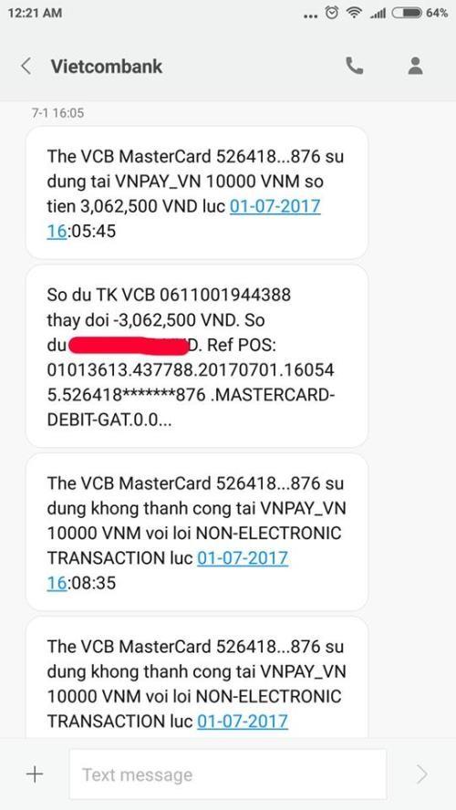 """Chủ thẻ Vietcombank lại """"tố"""" bị mất tiền - ảnh 2"""