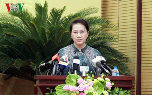 Chủ tịch Quốc hội Nguyễn Thị Kim Ngân phát biểu tại lễ khai mạc. Ảnh: VOV