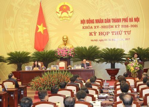 Bế mạc Kỳ họp thứ tư Hội đồng nhân dân thành phố Hà Nội khóa XV. Ảnh: TTXVN.