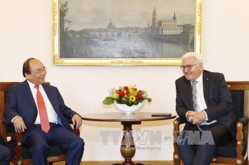 Thủ tướng Nguyễn Xuân Phúc hội kiến Tổng thống CHLB Đức Frank Walter Steinmeier. Ảnh: TTXVN
