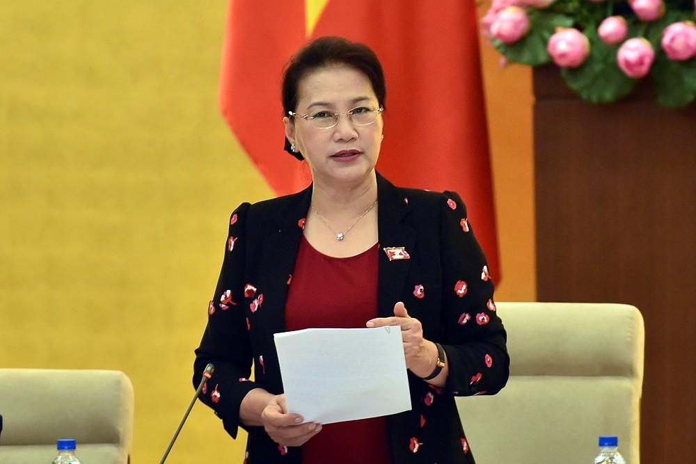 Chủ tịch Quốc hội Nguyễn Thị Kim Ngân phát biểu tại phiên khai mạc. Ảnh: VGP