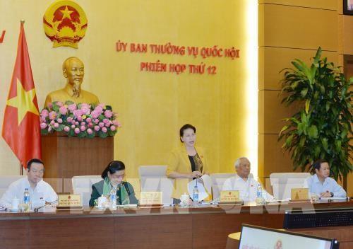 Chủ tịch Quốc hội Nguyễn Thị Kim Ngân chủ trì và phát biểu bế mạc Phiên họp thứ 12 của Ủy ban Thường vụ Quốc hội khóa XIV. Ảnh: TTXVN