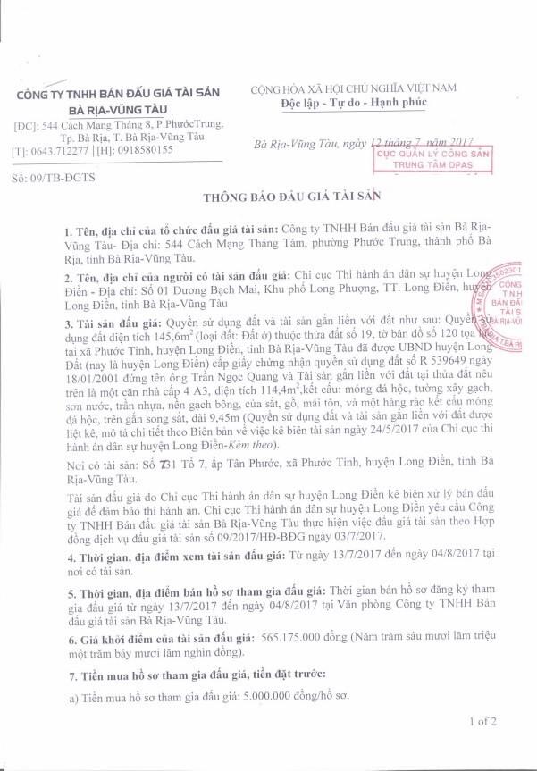 Đấu giá quyền sử dụng đất tại huyện Long Điền, Bà Rịa – Vũng Tàu - ảnh 1