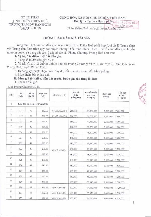 Đấu giá quyền sử dụng đất tại huyện Phong Điền, Thừa Thiên Huế - ảnh 1