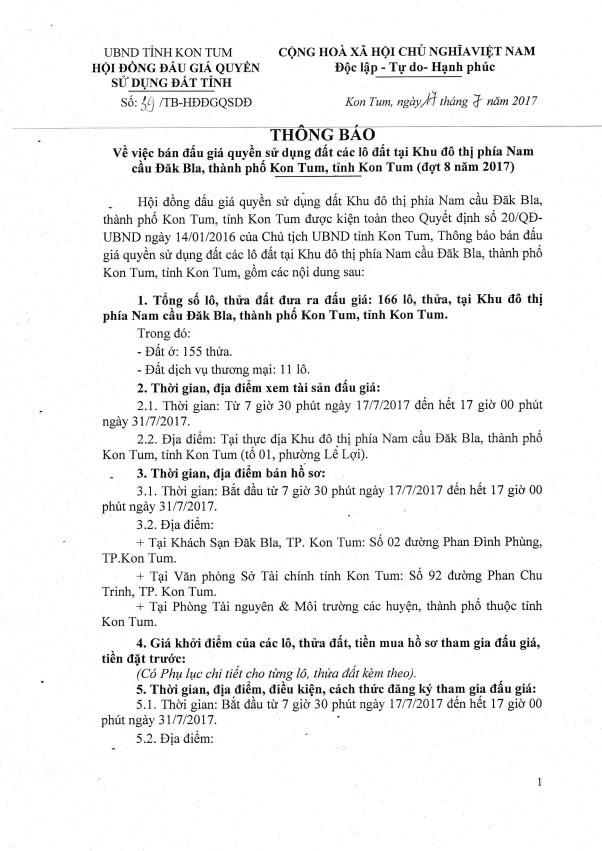 Đấu giá quyền sử dụng đất tại TP.Kon Tum, Kon Tum - ảnh 1